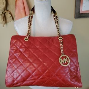 Michael Kors Susannah Cherry Quilted Leather Tote